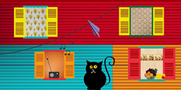 Windows, cat, bird click or tap game for toddlers