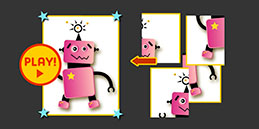 Play Robot Puzzle online for free, 4 pieces jigsaw puzzle for children