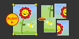 Play Flower Puzzle online for free, 4 pieces jigsaw puzzle for children